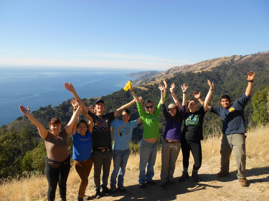 Students from UCSC having fun atop the Tanbark trail after a day of stewardship