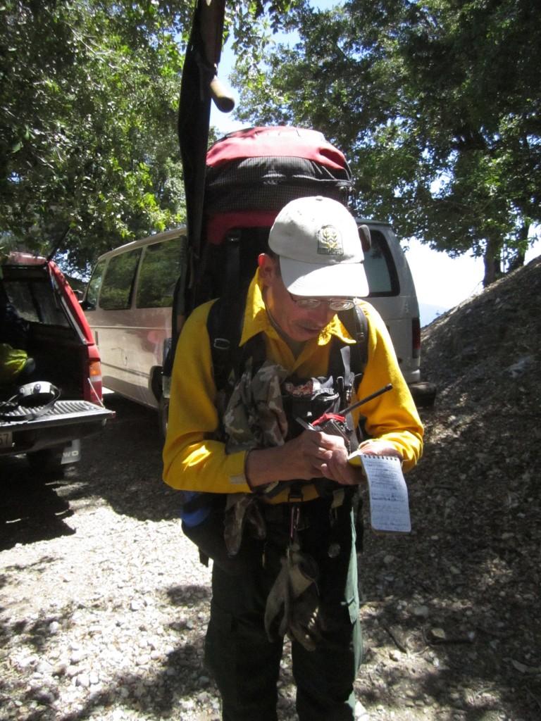 Heard checks his notes before hitting the trail