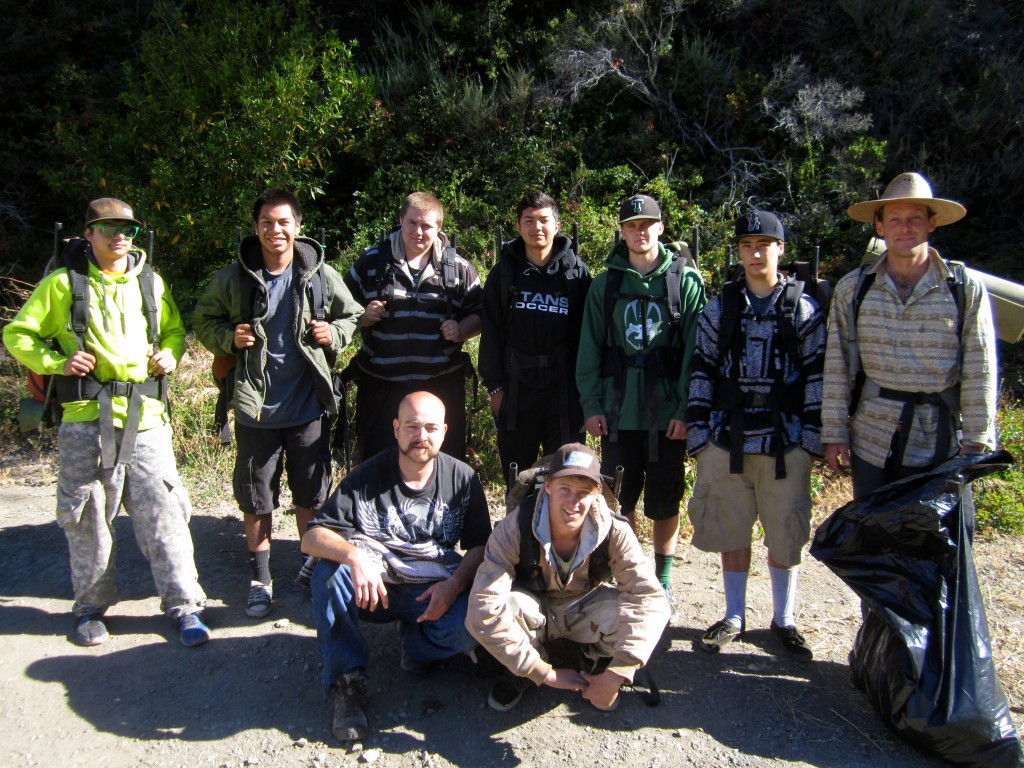 The crew after a trash clean-up around Salmon Creek falls