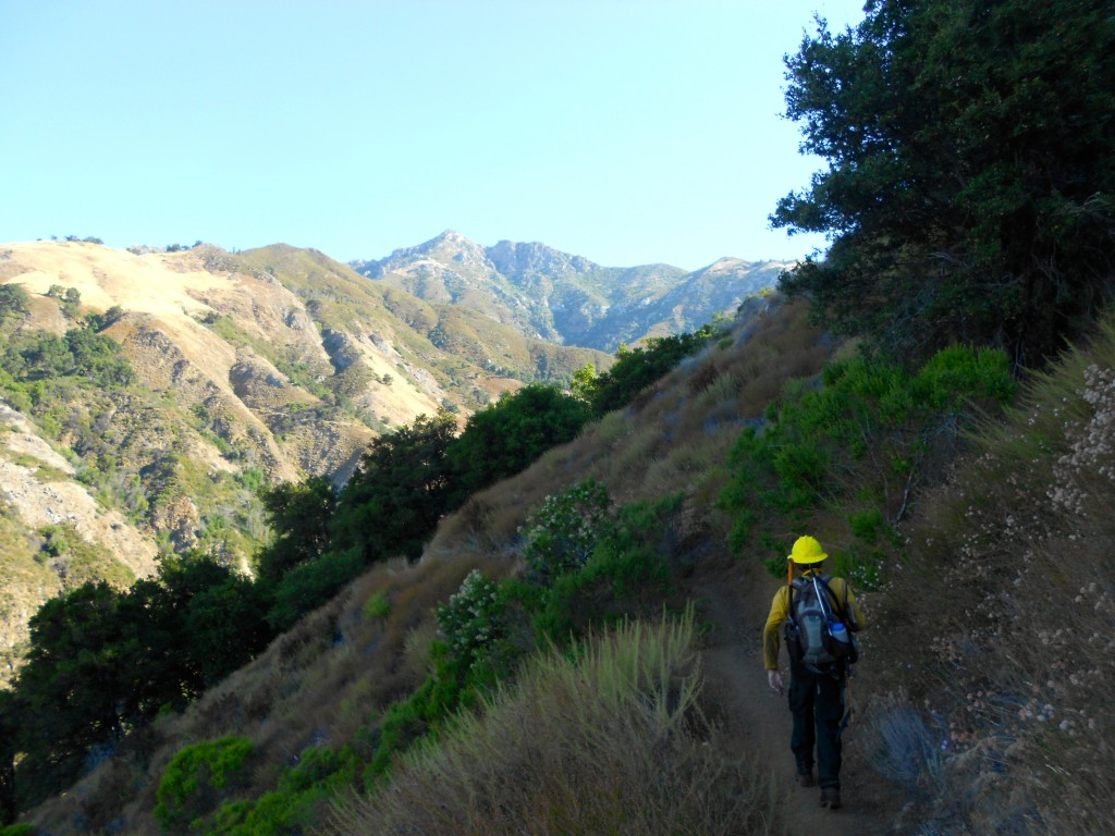 Trail Crew Leader/Volunteer Wilderness Ranger/FS Office Volunteer, Mike Heard, hikes to work