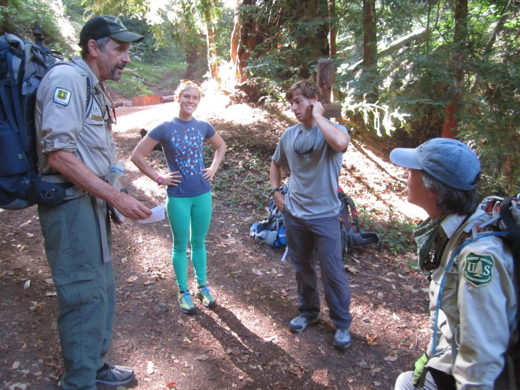 LNT Traveling Trainer's Jenna and Sam talk fire restrictions with VWR's Steve and Beth Benoit