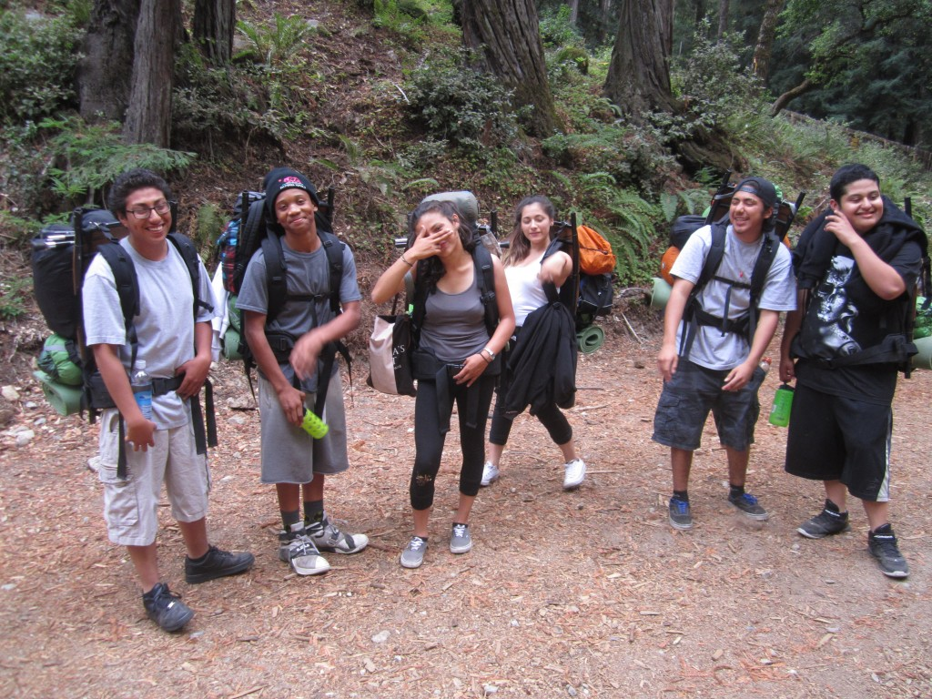 Salinas Community School students at the trailhead of the Little Sur